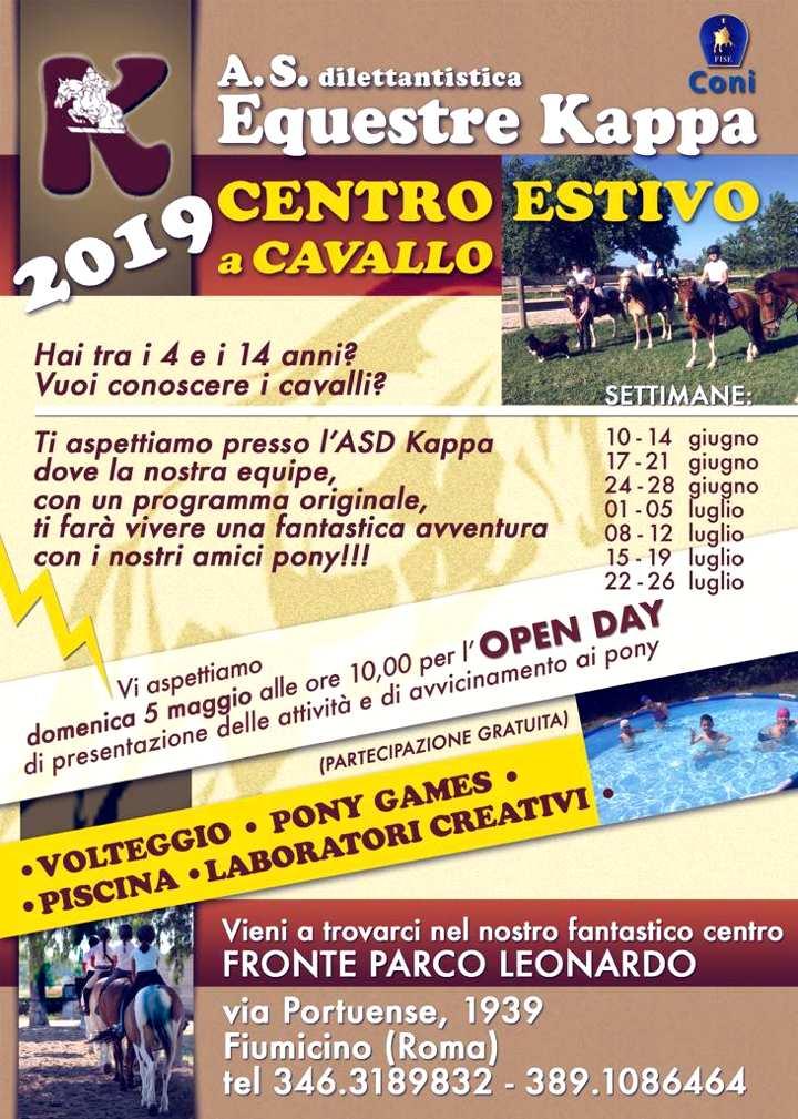 Locandina del Centro estivo a cavallo per bambini e ragazzi dai 4 ai 14 anni, organizzato da Equestre Kappa in via Portuense 1939 Roma. Info: Tel.+39.392.67 20 961